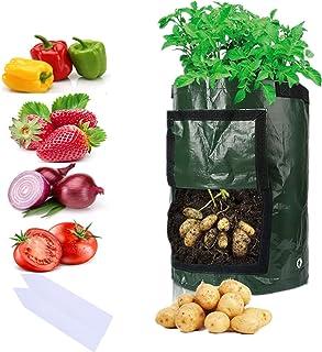 Sfee 2 Pack 7 Gallon Potato Grow Bags, PE Durable Aeration Pots Planters Bag with Handles Access Flap for Garden Farm Vege...