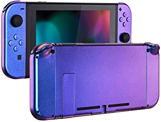 eXtremeRate Chamillionaire Glossy Back Plate for Nintendo Switch Console, NS Joycon Handheld Controller Housing with Full Set Buttons, DIY Replacement Shell for Nintendo Switch - Chameleon Purple Blue