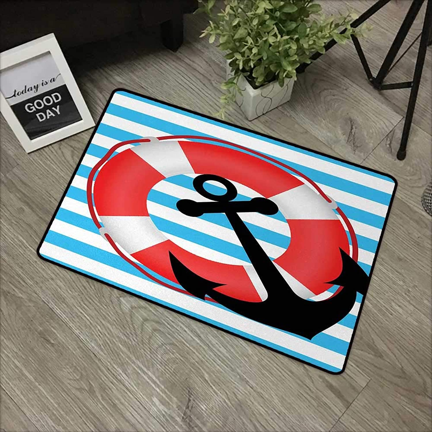 Restaurant mat W35 x L59 INCH Anchor,bluee Striped Backdrop with Lifebuoy and Anchor Aboard Travel Predection,Sky bluee Red Black Non-Slip, with Non-Slip Backing,Non-Slip Door Mat Carpet