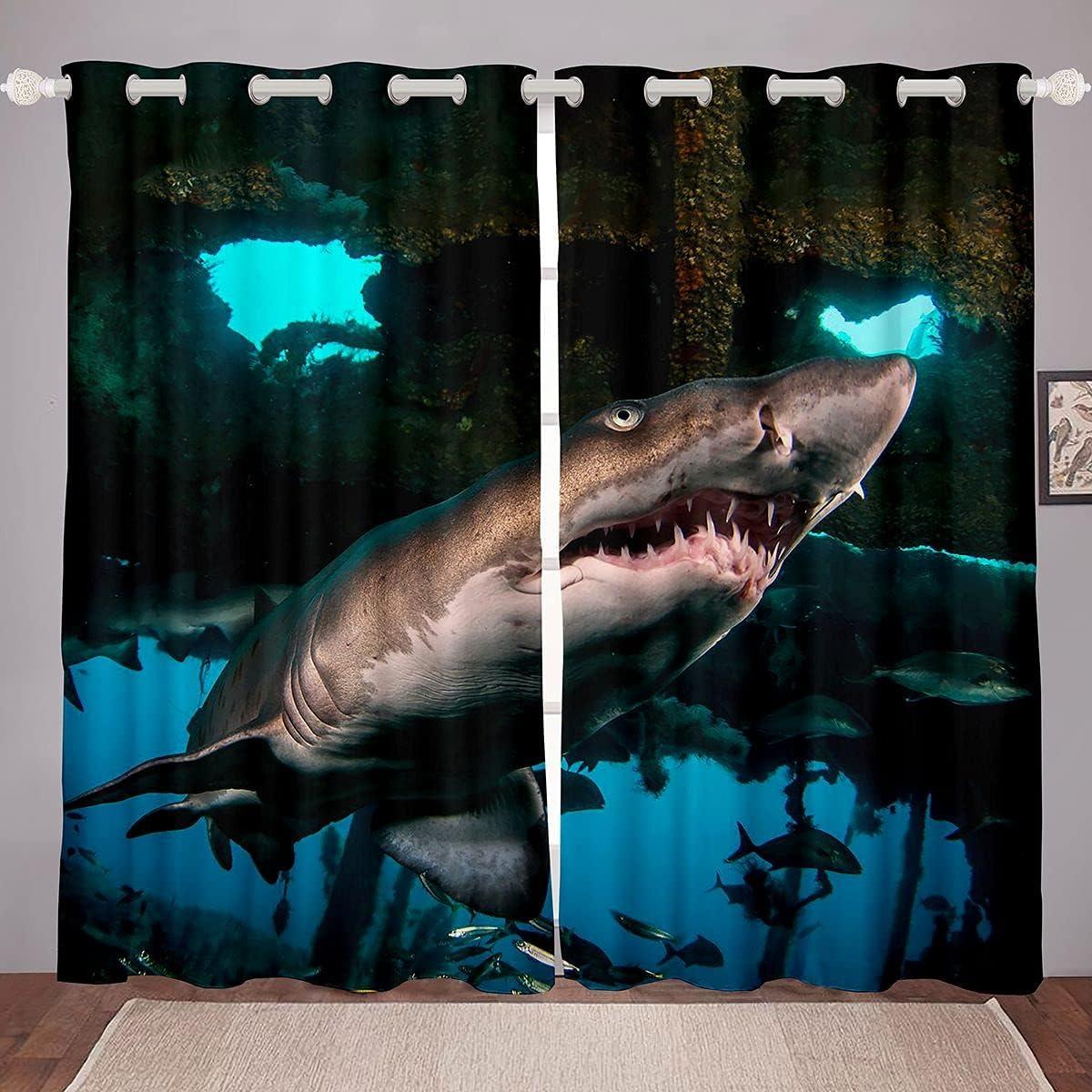 Feelyou Sales 3D Shark Window Curtains Curtain Marine Theme Ocean Ranking TOP7 for