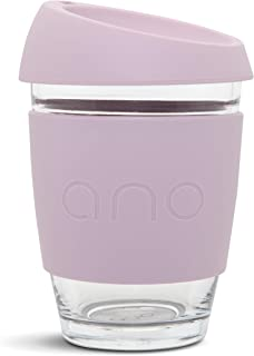 Ano Reusable Glass Coffee Cup 100% Plastic Free (Dusk, 12oz)