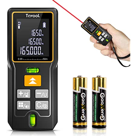 Laser Measure 165 Ft - 5 in 1 Laser Tape Measure Digital Laser Measurement Tool Distance Meter M/in/Ft Backlit LCD 2 Bubble Levels Mute Measuring Distance Area Volume Batteries (50m)