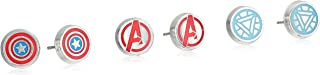 Marvel Comics Unisex Women'S Avenger Logo Pack Stainless Steel Round Stud Earrings