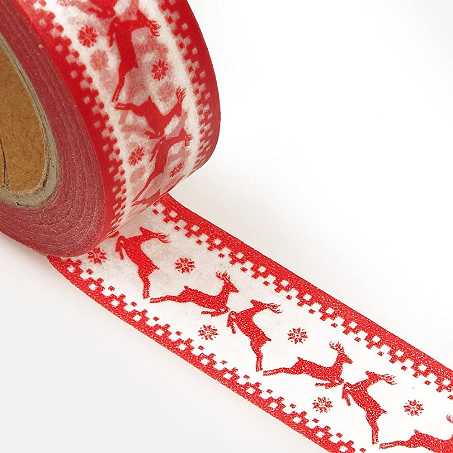 Holiday Themed Washi Tape - 9/16 in. Wide, 10 Yards (Red Dancing Reindeer)