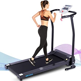 ANCHEER Folding Treadmill, Treadmills for Home with LCD Monitor Motorized,Pulse Grip and Safety Key,Top Indoor Exercise Machine Trainer Walking Running for Home & Office Workout