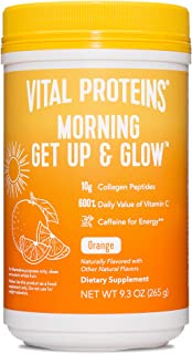 Vital Proteins Morning Get Up and Glow Collagen peptides Powder Supplement, 90mg Caffeine for Energy & Vitamin C & Biotin ...