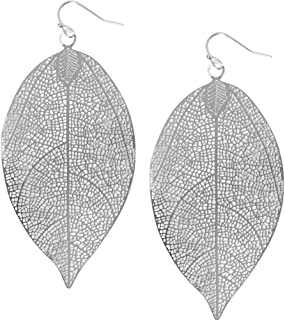 Humble Chic Leaf Dangle Earrings - Lightweight Statement Cutout Dangling Drops for Women - Boho Vintage-Style Teardrop, Delicate Filigree Plant, Tropical Palm