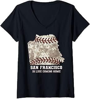 Womens San Francisco Map Baseball Ball Distressed Texture V-Neck T-Shirt