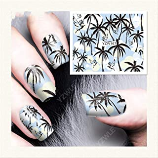 12 Sheets Coco Coconut tree summer Hawaiian dandelion leaves Cartoon Design Nail Art Stickers Black Lace Design Wraps Decoration Decal DIY Tips160-172