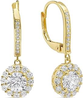 5mm Bezel Set Diamond Drop Dangle Earrings 14K Yellow Gold GP Anniversary Gift