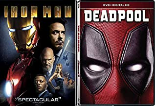 Gold & Red Marvel Super Studios Tony Stark Iron-Man & Deadpool DVD Double Feature Part Movie Pack Hero Set