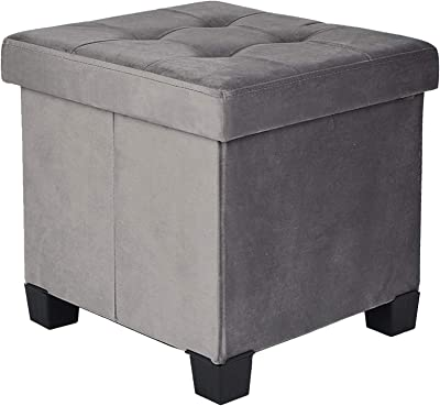 BRIAN & DANY Foldable Velvet Tufted Storage Ottoman with Wooden Lid, Cube Footstool with Wooden Legs & Highly Elastic Sponge Filling, Gray