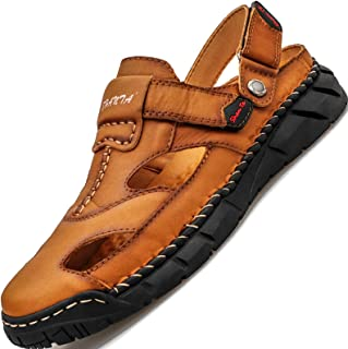 GILKUO Men's Sandals Leather Spring Summer Closed Toe Outdoor Sandals