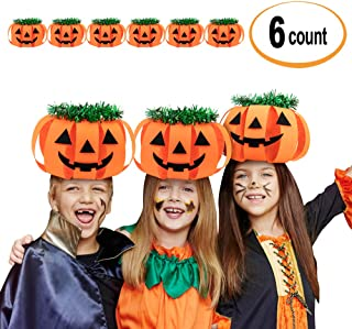 Halloween Pumpkin Hats Making Activity Kit, 6-Pack. Funny Props Orange Jack-O-Lantern as Party Craft Supplies for kids. Great as Decoration/Prop/Costume for Boys and Girls on Thanksgiving and New Year