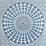 MOMOMUS Tapiz Mandala Bohemio - 100% Algodón, Grande, Multiuso - Plaid/Foulard/Tela/Colcha Ideal como Cubre Sofá/Cama - 210x230 cm Azul