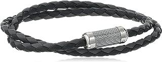 Tateossian Unisex Tateossian Unisex Silver Grey Alutex Clasp Grey Leather Double Wrap 38cm Wrap Bracelet