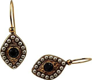 Orecchini Vintage Mokilu' in Ottone anallergico con doratura 24K effetto Oro Antico, con chiusura ad amo. Due pietre nere ...