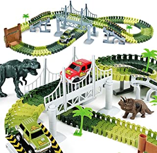 AUUGUU Kids Dinosaur Race Car Track with Flexible Track, Dino Toys, Bridge, Ramps and 2 Race Car Toys – Prehistoric Race T...