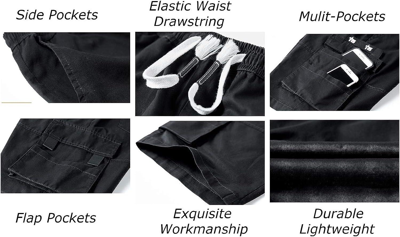 Anbreuinron Men's Casual Lightweight Multi-Pockets Cargo Shorts Elastic Waist Drawstring