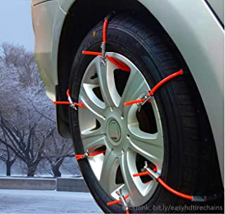 Easy HD Emergency Traction Snow Mud Tire Chains for SUV - Anti Skid Universal Fit Multifunctional Metal Pickup SUV Car Van Light Truck ATV Jeep Honda Toyota Nissan VW Ford Mercede Benz BMW GMC