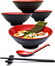 4 Sets (16 Pieces) 34 Ounce Japanese Ramen Noodle Soup Bowl Melamine Hard Plastic Dishware Set with Matching Spoon and Chopsticks for Udon Soba Pho Asian Noodles (4, Red, 7.7 inches)