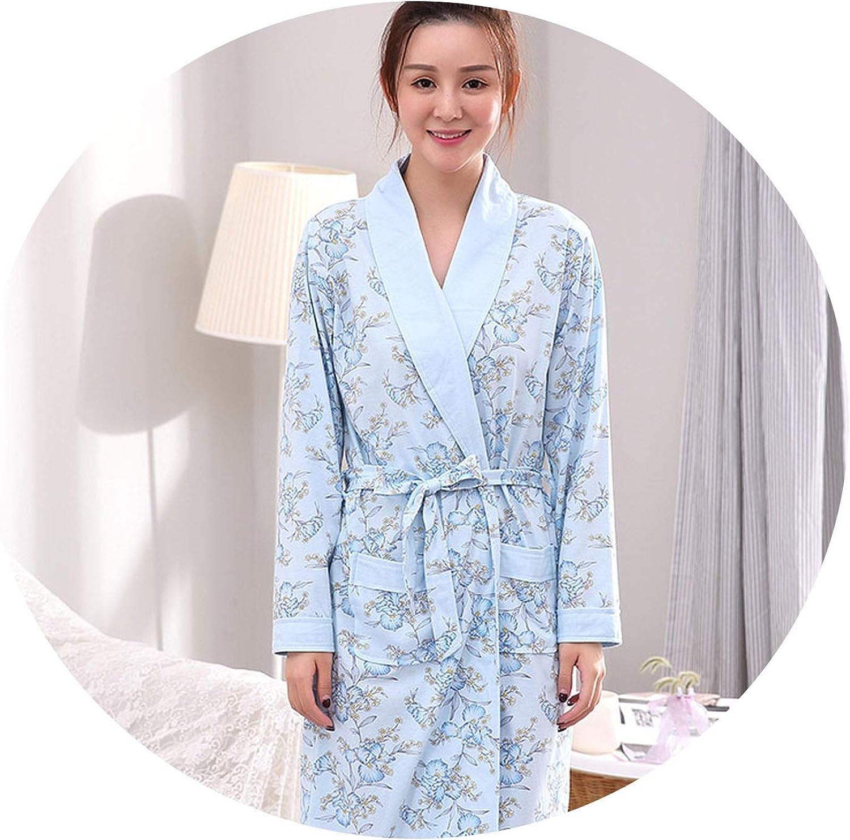 colorfulspace Women's Cotton Floral Bathrobe Simple Style Bath Robe Home Nightwear Medium Long Robe