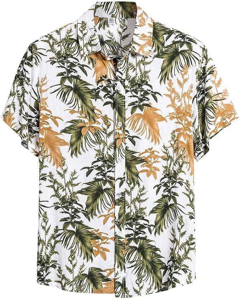 Misaky Men's Tropical Casual Short Sleeve Button Down Hawaiian Palm Trees Shirt Cotton Beach Tshirt