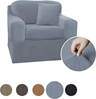 MAYTEX Collin Stretch 2 Piece Chair Furniture Cover Slipcover, Blue