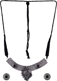 Crunchy Fashion Jewellery Oxidized German Silver Antique Shell Design Necklace Set Studded Black Stone with Earrings for G...