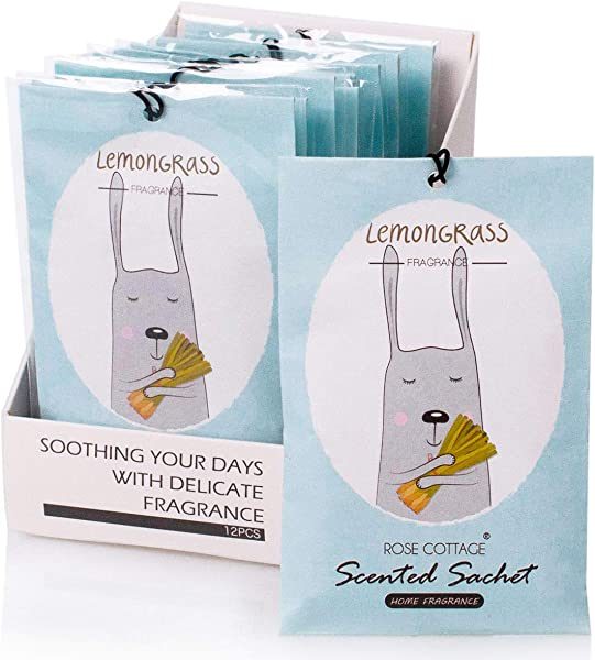 12Packs Lemongrass Closet Air Freshener Deodorizer Scented Sachets Bags For Drawer And Closet 16 Scents Optional ROSE COTTAGE