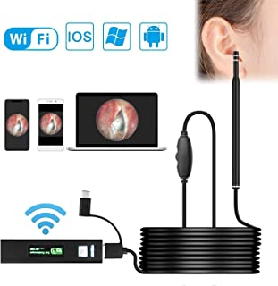Ear Camera, Duyoi Wireless Otoscope with 1.3 MP HD Digital, WiFi Ear Scope for Ear Cleaning, Waterproof Otoscope with 6 Adjustable LED Lights for iPhone, Android and Windows