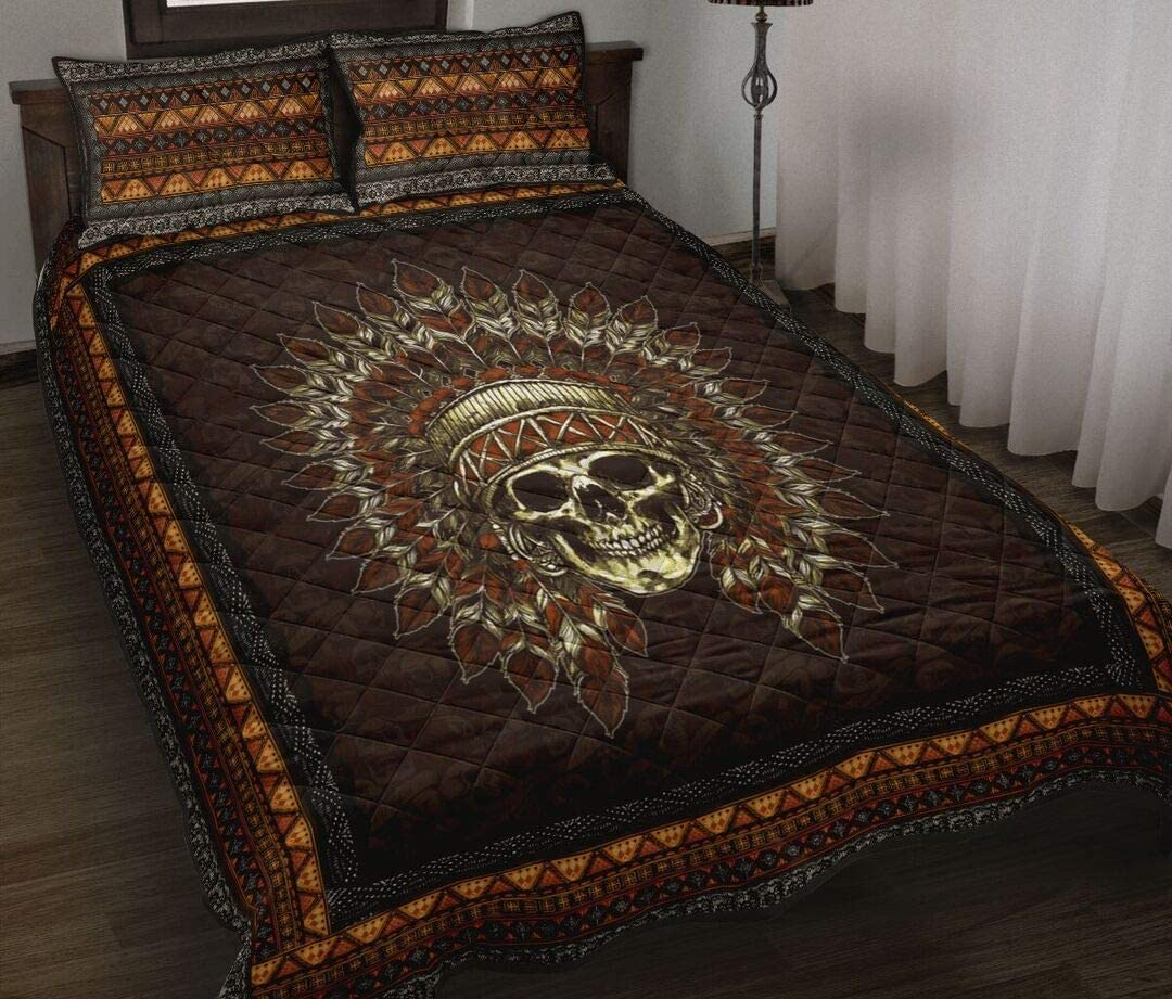 Personalized Skull Quilt Native American Max 70% OFF Your L Gift for Translated