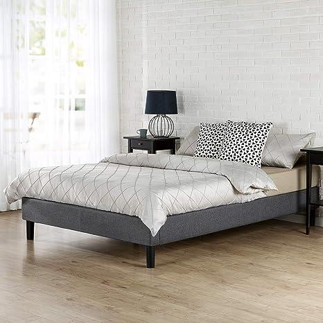Zinus Curtis - Marco de Cama con Plataforma tapizada, Base de colchón, Soporte de Listones de Madera, no Requiere somier de somier / fácil Montaje, ...