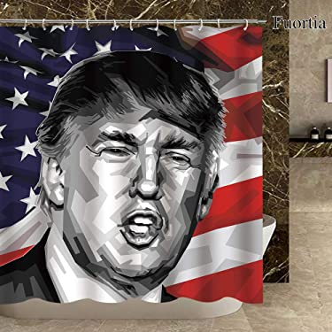 Fuortia Donald Trump Shower Curtain America President and Flag Bathroom Curtain with Hooks Fabric Bathroom Curtain Sets Bathroom Decoration 70x70 Inches
