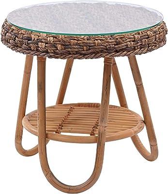 サンフラワーラタン バナナリーフ サイドテーブル T040ME 幅44×奥行44×高さ44cm ブラウン
