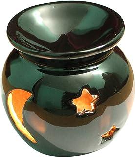 Ab Handicrafts?–?セラミック?–?Essential Oil Burner、完璧ハンドメイドOil Diffuser for Fragrance &アロマセラピー?–?素晴らしい装飾のリビングルーム、バルコニー、ポーチ& Garden ブラック AB-oil