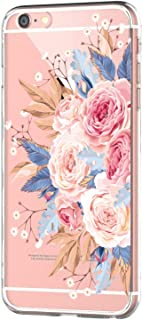 Suhctupt Case Compatible with iPhone 7/8 4.7'' Soft Back Cover Crystal Clear TPU Bumper Transparent Cute Design Kids Girls Women Shockproof Anti-Yellow Phone Skin Protective Case-Pink Roses