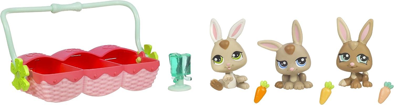 Peust Petshop - Petriplets - 93634 - Petshop Triplés - Lapins  1332 &  1333 & 1334 avec accessoires - Hasbro