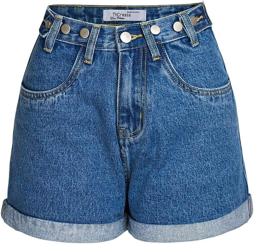 CHARTOU Women's Chic High Waist Wide Leg Roll-Up Buttons Mini Denim Jean Shorts