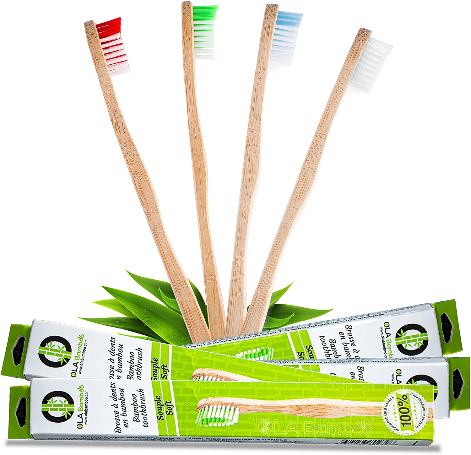 OLA Bamboo - Toothbrushes Pack of Soft 4 Bristle Ranking TOP4 Year-end annual account Toothb