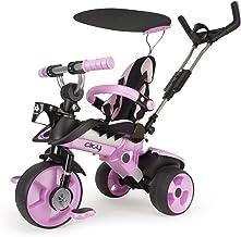 INJUSA - Triciclo Evolutivo City Color Rosa Recomendado para Niños +6 Meses con Mango de Dirección Parental, Techo Solar y Asiento regulable
