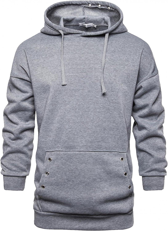 Hoodies for Men Mens Casual Solid Long Sleeve Top Hollow Ring Hooded Drawstring Hoodies Blouse Fashion Hoodies Sweatshirts