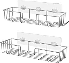 AmazerBath Shower Shelf Shower Caddys Wall Mounted 2 Pack,Stainless Steel Shower Wall Caddy with Hooks,Shower Organizer for Bathroom,Kitchen,Toilet,Chrome