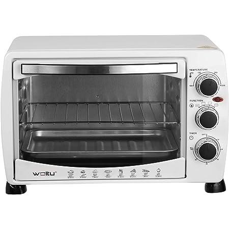 WOLTU BF09ws Mini Four à pizza Double porte en verre avec plaque de cuisson et rôtissoire avec minuterie 0-250 ° C 1400 W,20 litres Blanc