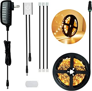 SENSKY LED Strip Light Kit, 19.7FT/6M Brightness Adjustment Touch Dimmable Strip Lighting Warm White LED Tape Lights with UL Listed Power Supply, Touch On/Off Dimmer Sensor Switch
