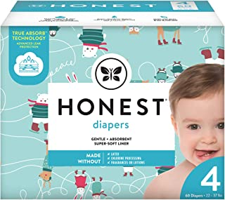 The Honest Company The Honest Company Club Box Diapers with Trueabsorb Technology, Ice Ice Baby, Size 4, 60 Count
