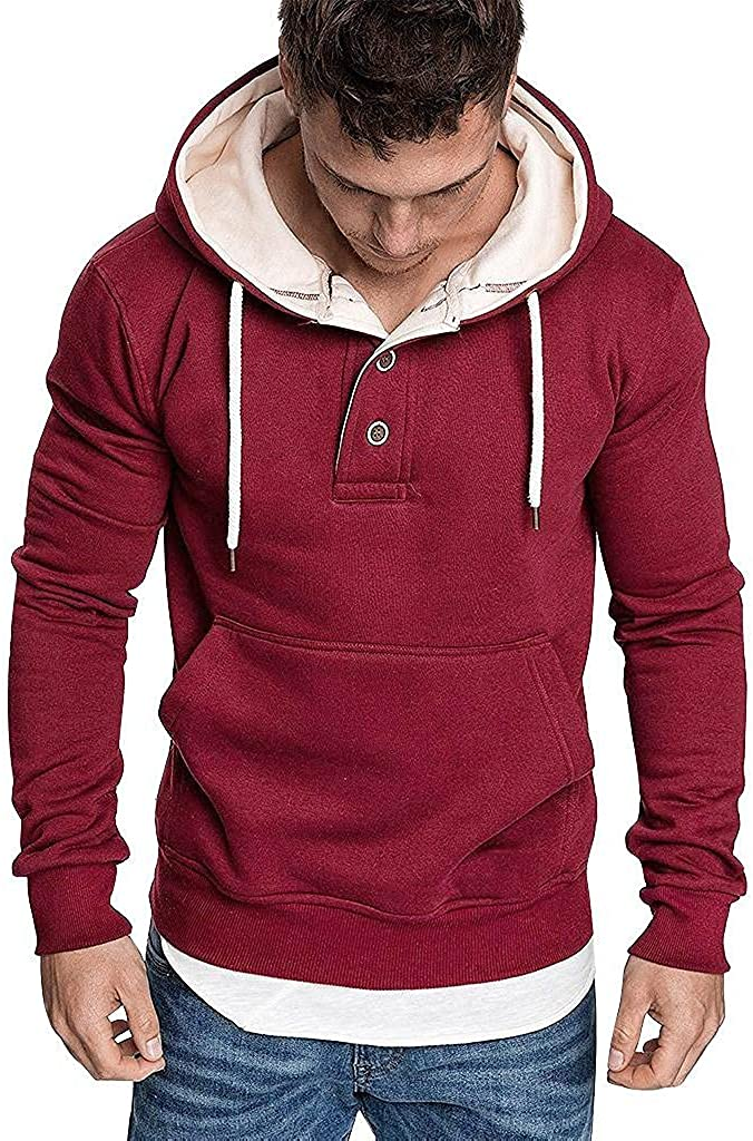 Qsctys Mens Fashion Athletic Hoodies Sport Sweatshirts Solid Color Pullover Hooded Slim Fit Casual Long Sleeve Shirts V Neck