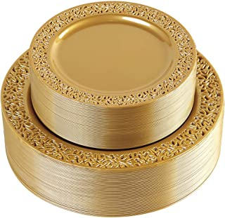 102 Pieces Solid Gold Disposable Plates, Lace Design Plastic Plates, Premium Heavyweight BPA Free Plates Includes: 51 Dinner Plates 10.25 Inch and 51 Salad/Dessert Plates 7.5 Inch