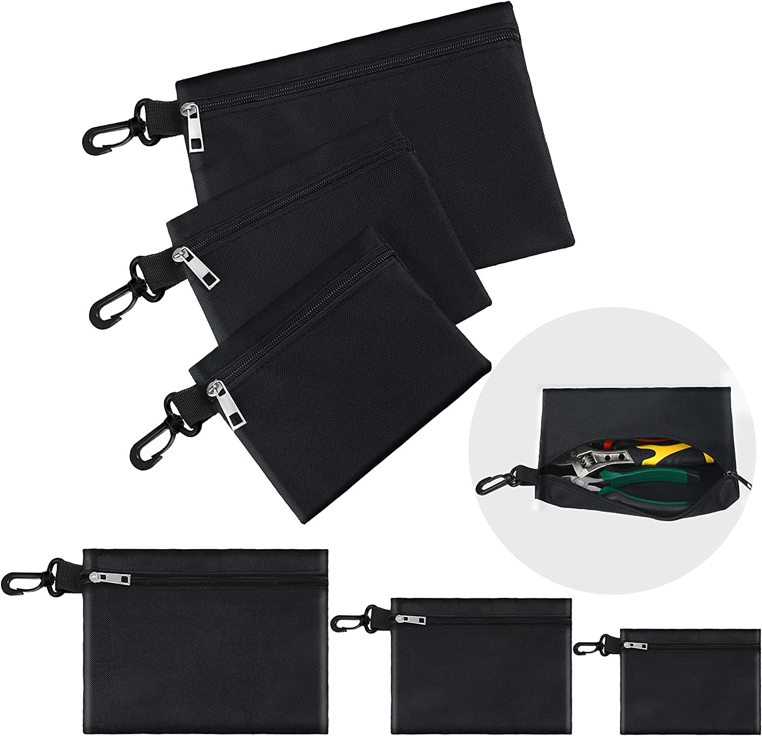 6 Pieces Canvas Tool Bag Small Tool Pouch Heavy Duty Tool Organi