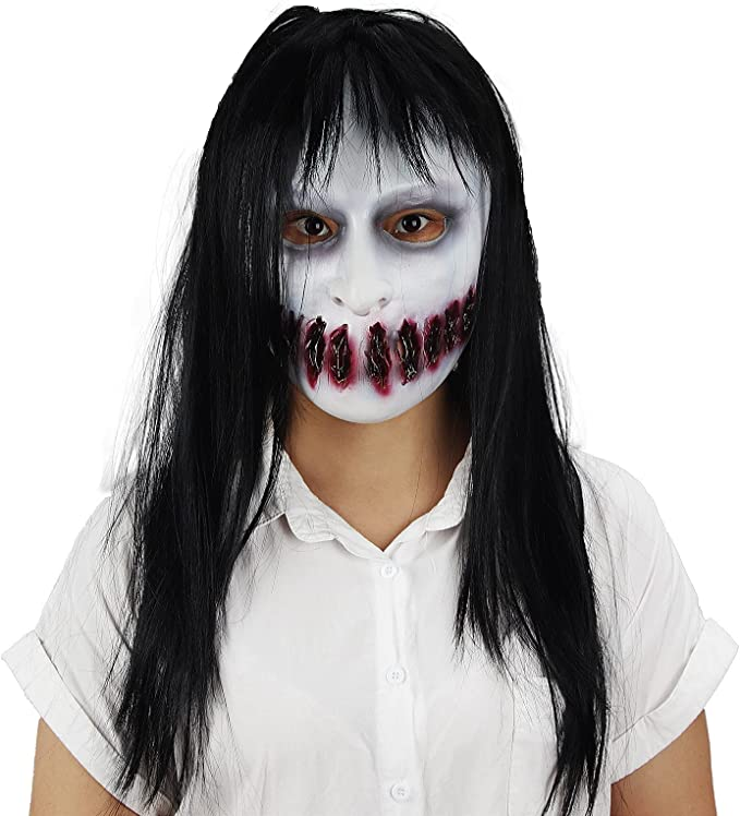 WUMAWEI Creepy Mask, Halloween Creepy Grimace Sadako Ghost Latex Mask with Long Hair Halloween Cosplay Costume Party Props